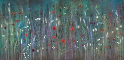 Never Fade by Jo Starkey - Original painted on Silk on Board sized 48x24 inches. Available from Whitewall Galleries